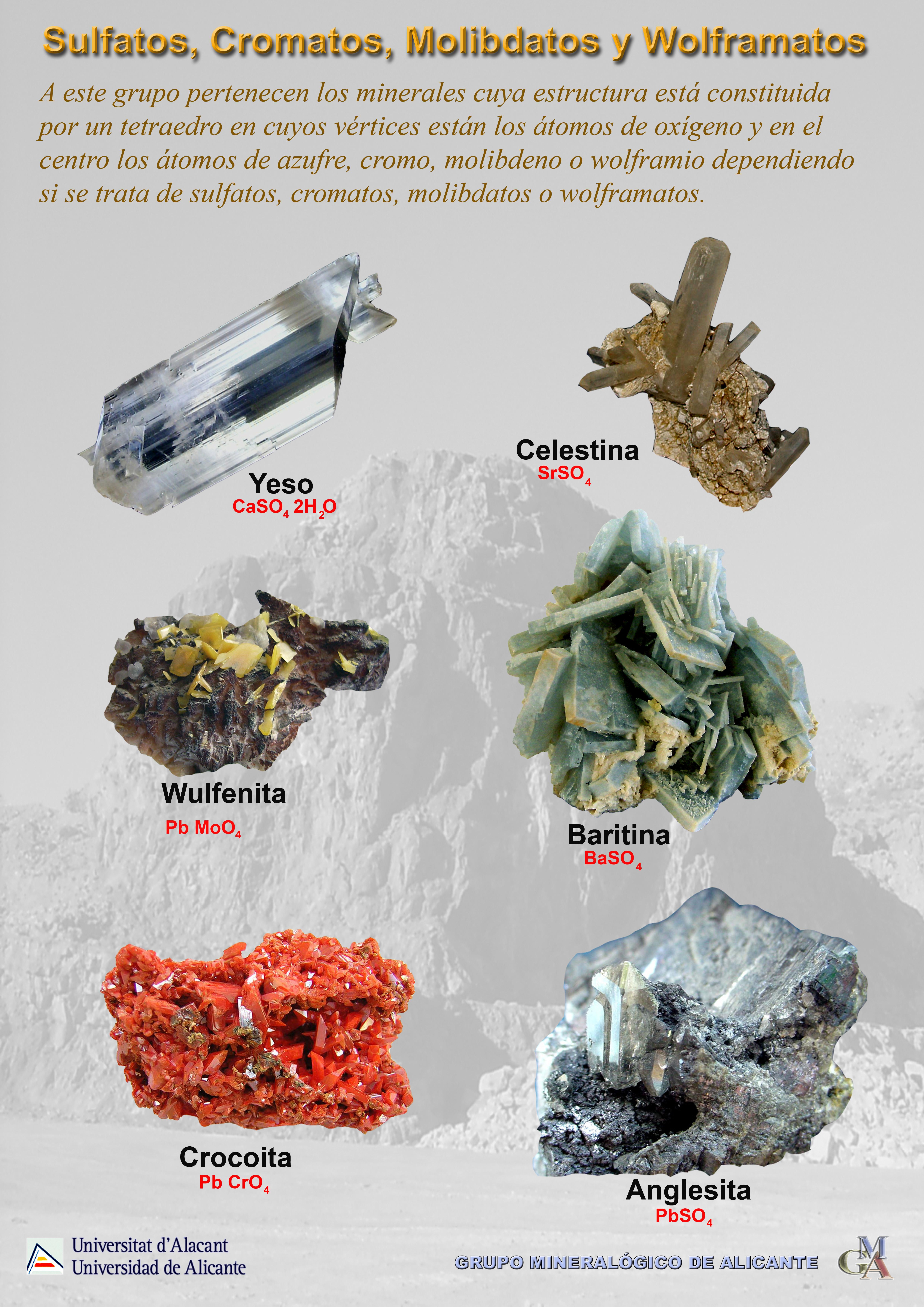 Rocas, tipos de rocas, generacion de rocas nuevas, modificaciones que sufren, ejemplos de rocas, que es el suelo, tipos de suelo. (Hecho por Elizabeth Balaguer Duarte). , Sulfatos